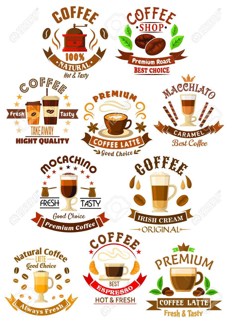Premium-Qualität Kaffeegetränke Icons Mit Dekorativen Und Essen Zum ...