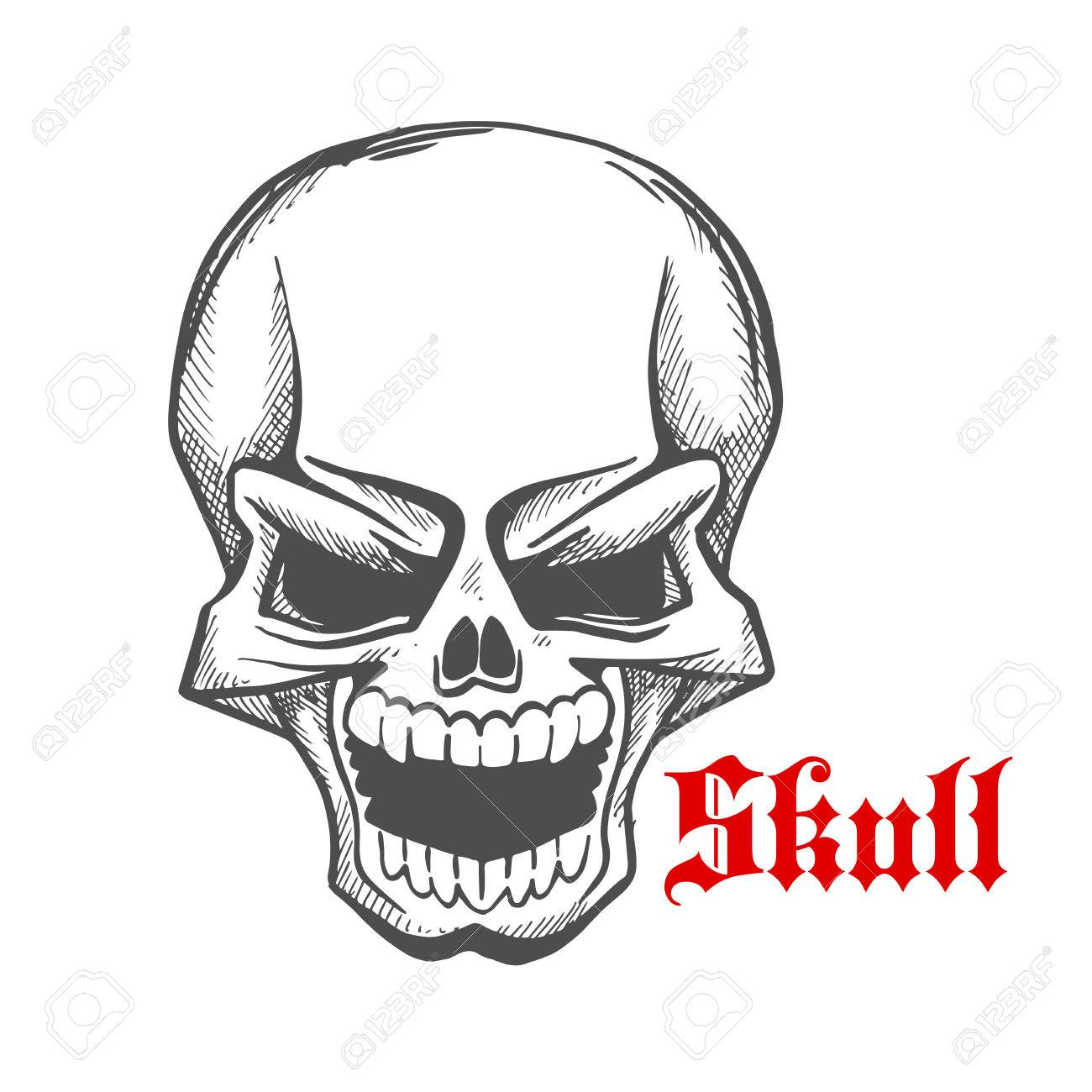 Laughing Demon Or Vampire Sketch Symbol Of Monstrous Skull With