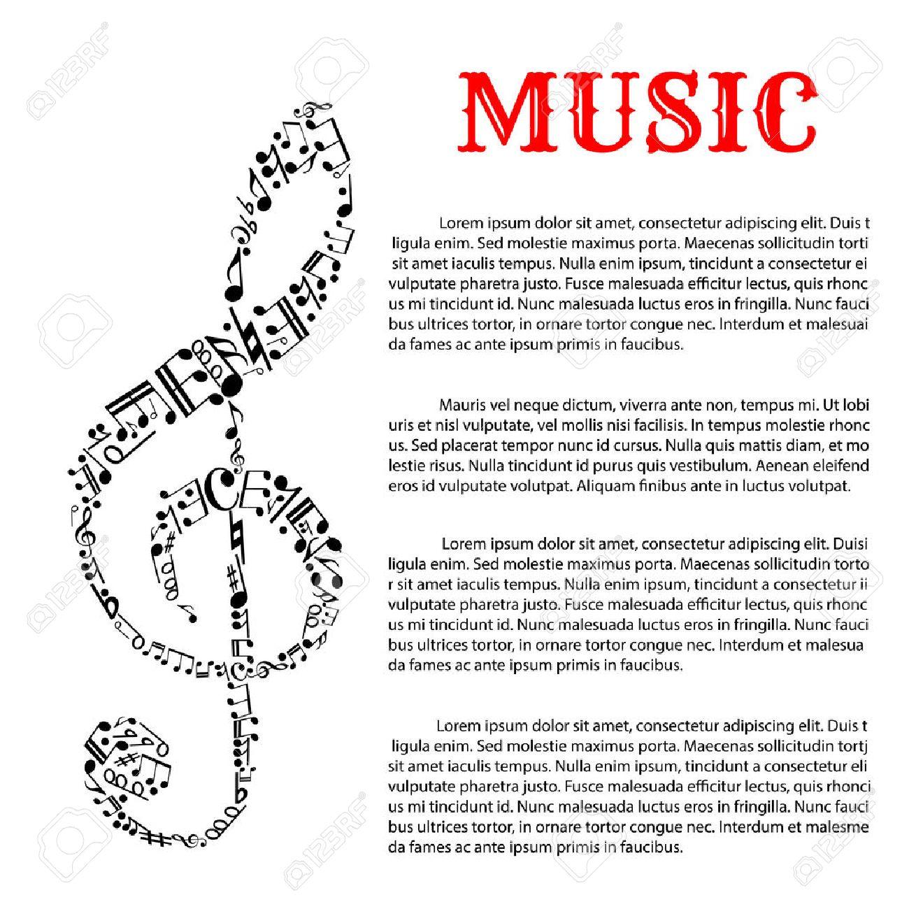 La Música Y La Plantilla De Infografía Sonido Con Clave De Sol Que ...