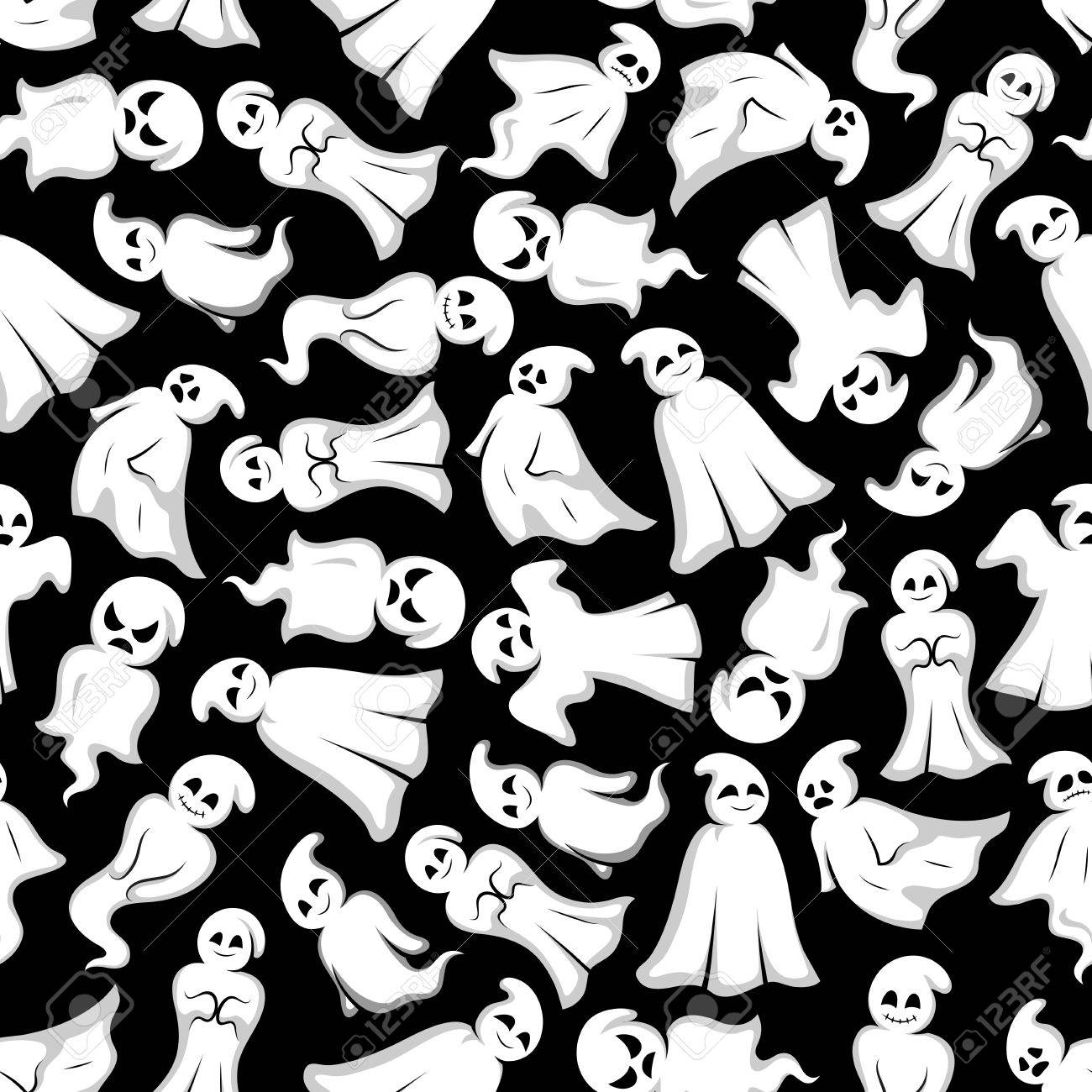 Halloween Background White Ghosts Seamless Pattern Wallpaper Royalty Free Cliparts Vectors And Stock Illustration Image 60304739