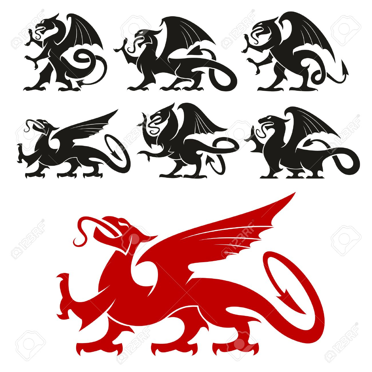 How to breed heraldic dragon - Heraldic Design Elements Heraldic Griffin Emblem Set And Mythical Dragon Silhouette Elements For Tattoo