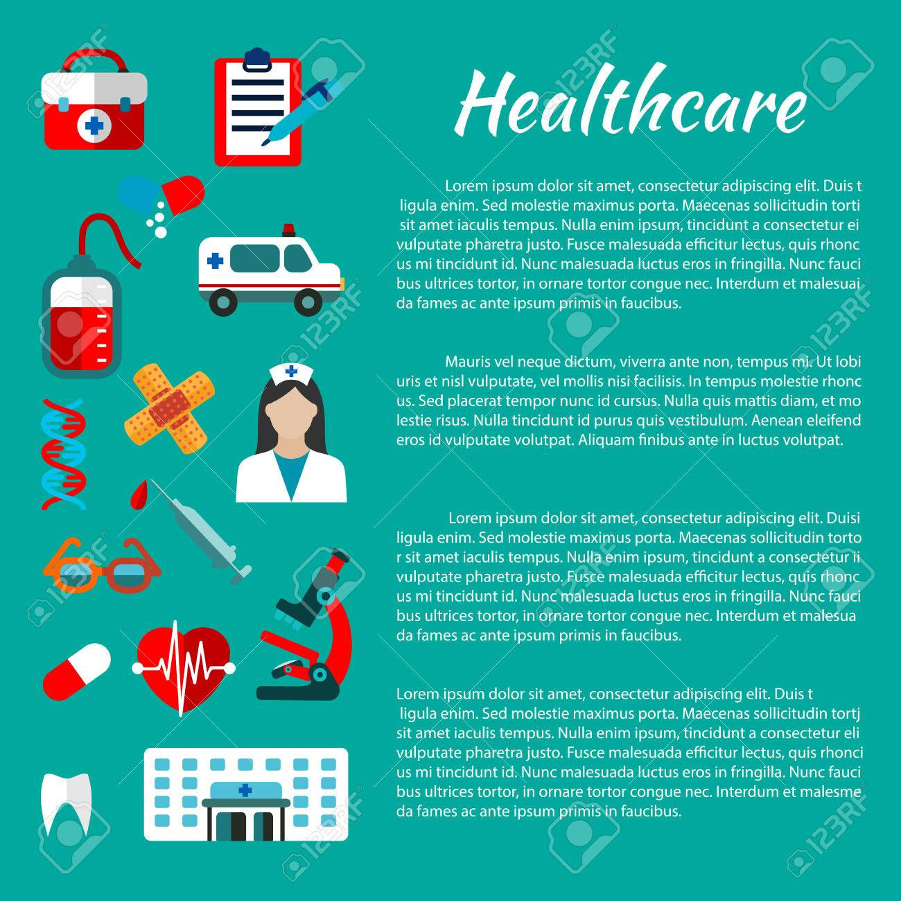 healthcare and hospital poster design template with flat icons