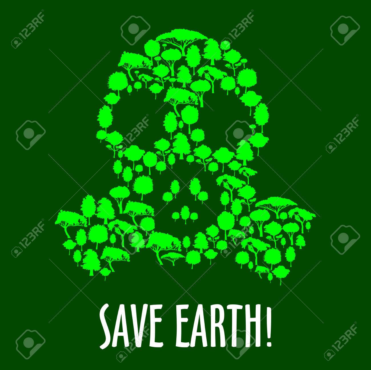 gas mask symbol with green plants and trees save earth concept