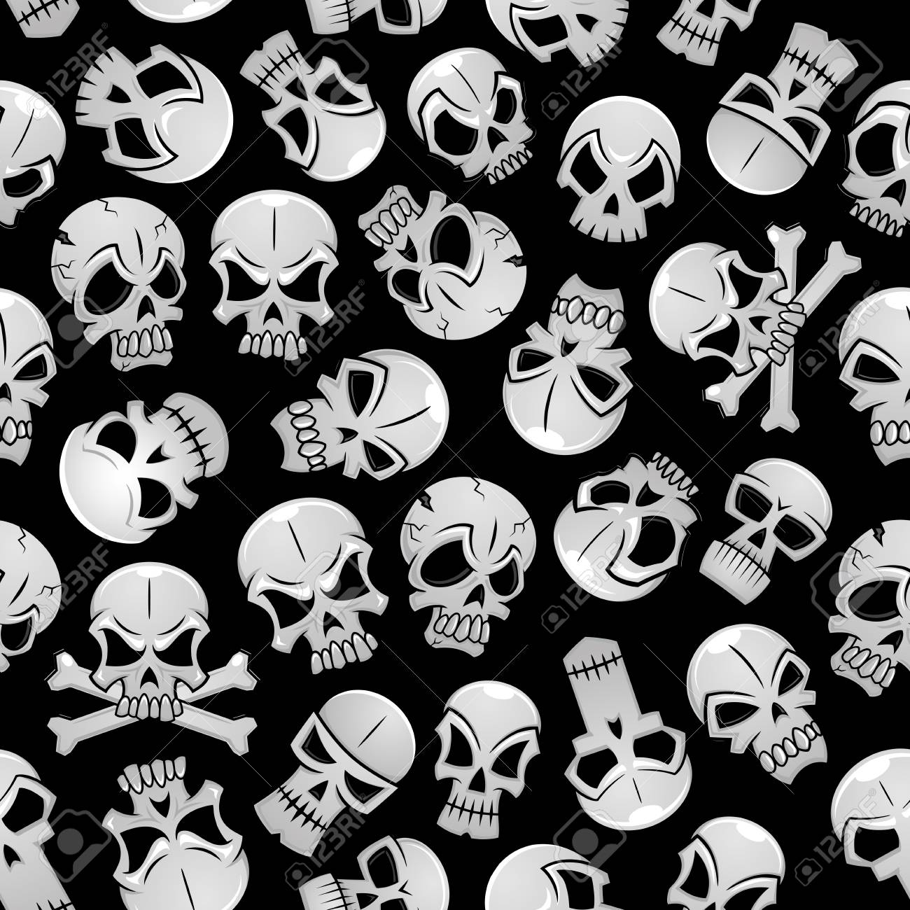 Skeleton skulls seamless background. Wallpaper with vector pattern of craniums and crossbones Stock Vector -