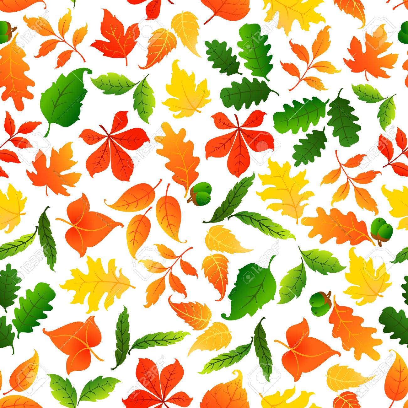 Colorful Leaves Seamless Pattern Background Autumn Foliage Wallpaper With Vector Elements Of Maple Birch