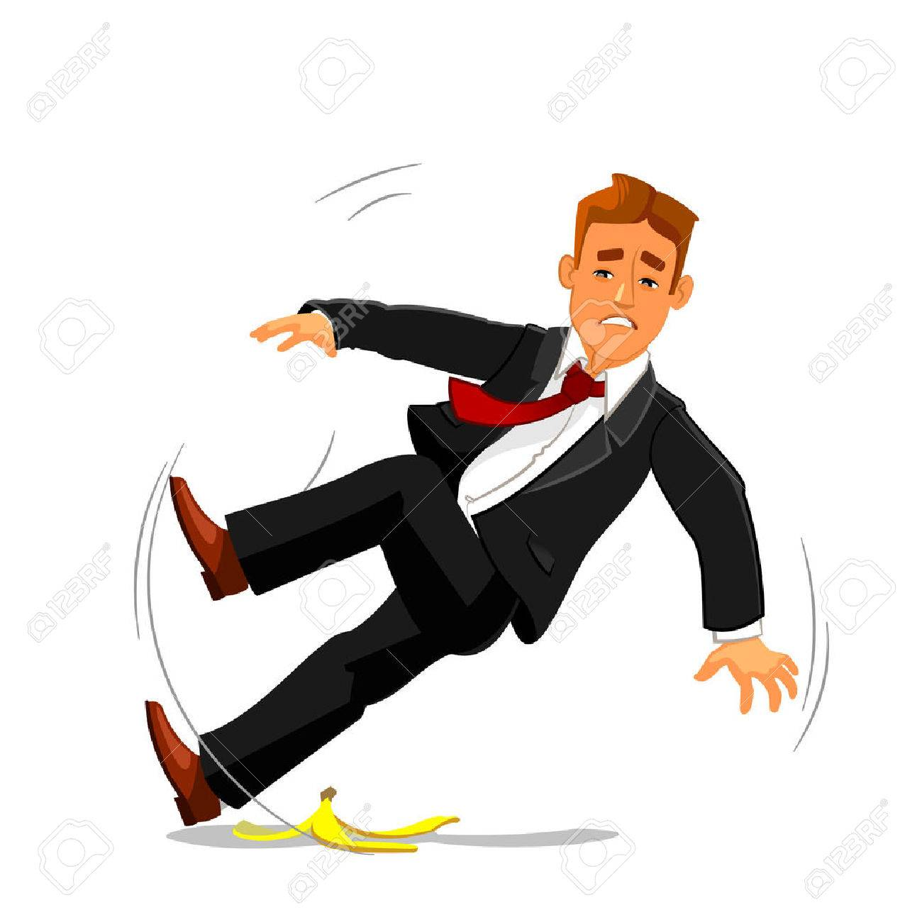 Young businessman slipping on banana peel and falling down. Accident, failure and bad luck buinsess metaphor with man vector character - 60381305