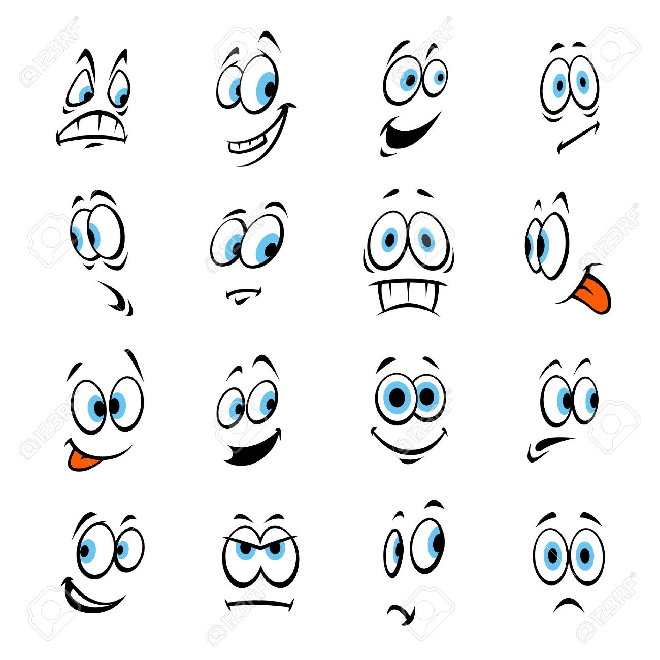 cartoon human eyes happy smiling angry scared shocked vector rh 123rf com Surprised Eyes Clip Art Person Laughing Clip Art