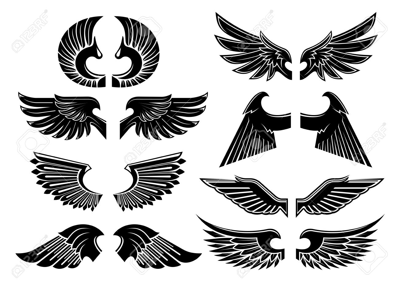 Heraldic angel wings icons with isolated black wings of fallen heraldic angel wings icons with isolated black wings of fallen angels with spiky and curved feathers biocorpaavc