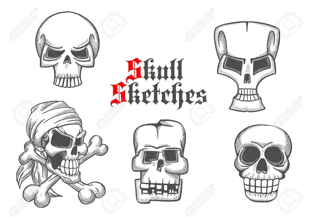 Skeleton Schädel Bleistiftskizze Symbole. Abstrakte Formen Des ...