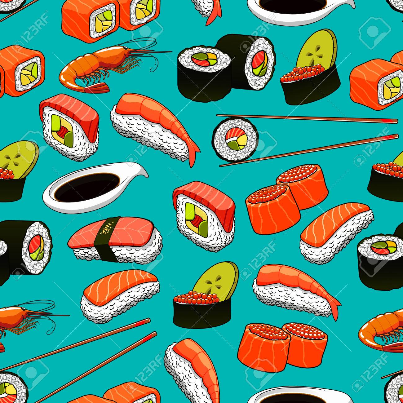 Seafood Seamless Background With Vector Pattern Icons Of Sushi ...