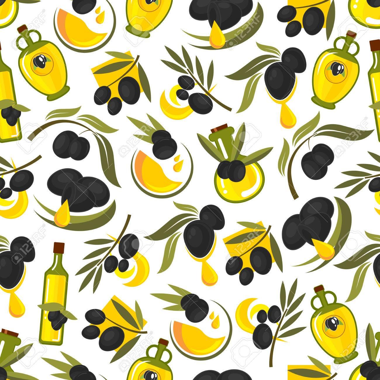 Schwarze Oliven Zweige Und Olivenöl Nahtlose Muster Hintergrund ...