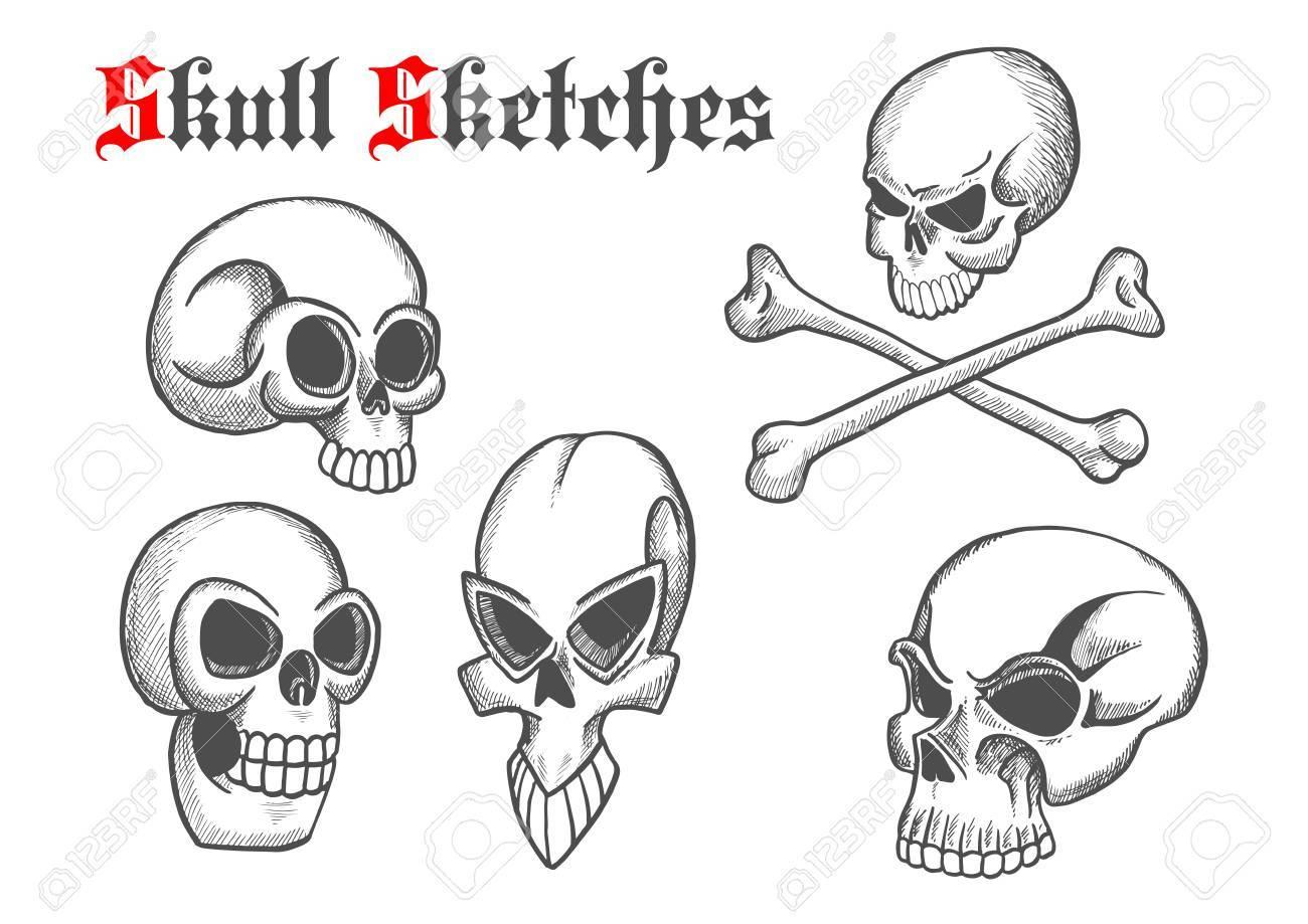 Halloween Schädel Skizzieren Isoliert Symbole. Künstlerische ...