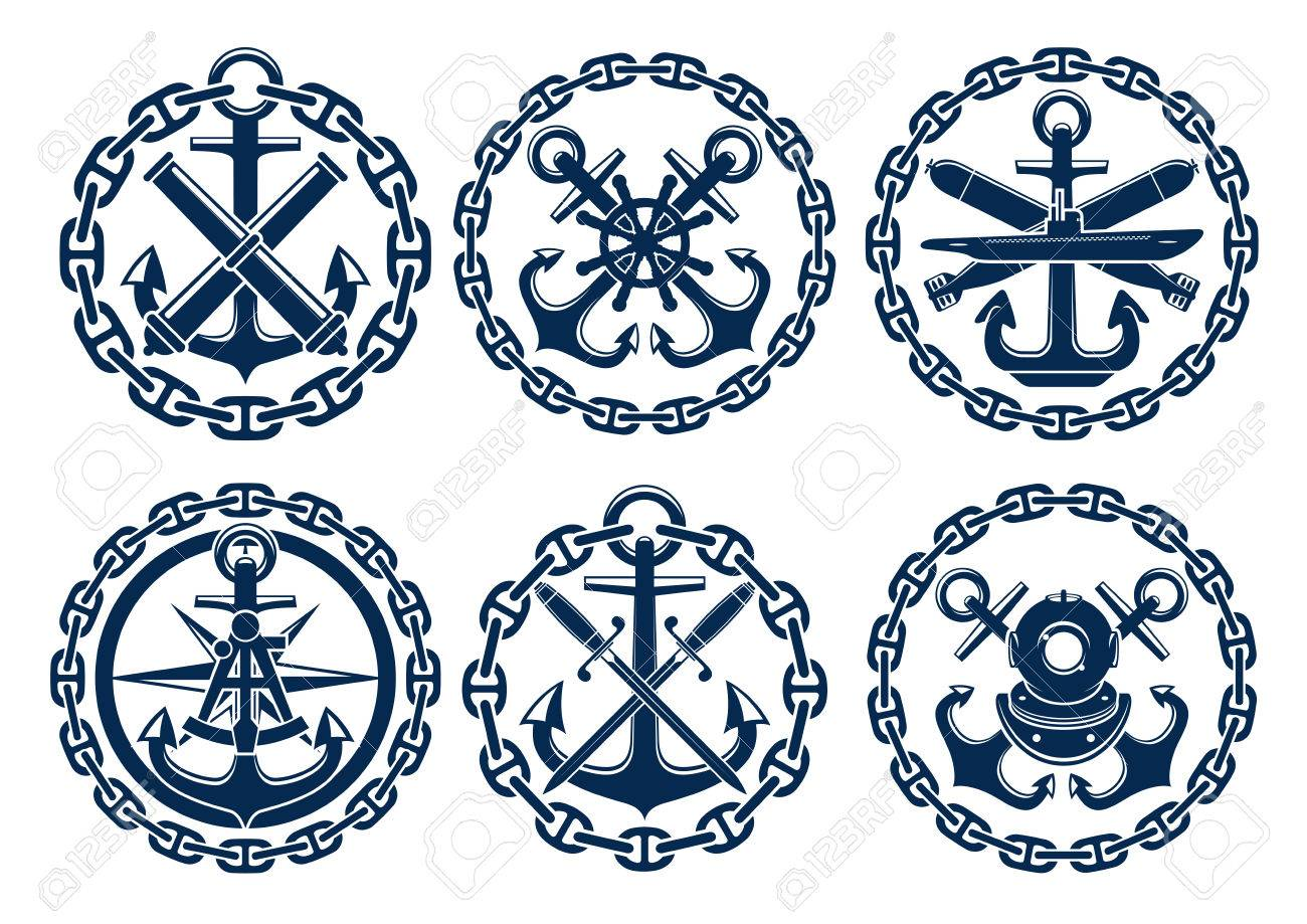 Marine and nautical emblems, icons, badges. Graphic insignia elements of  anchor, chain