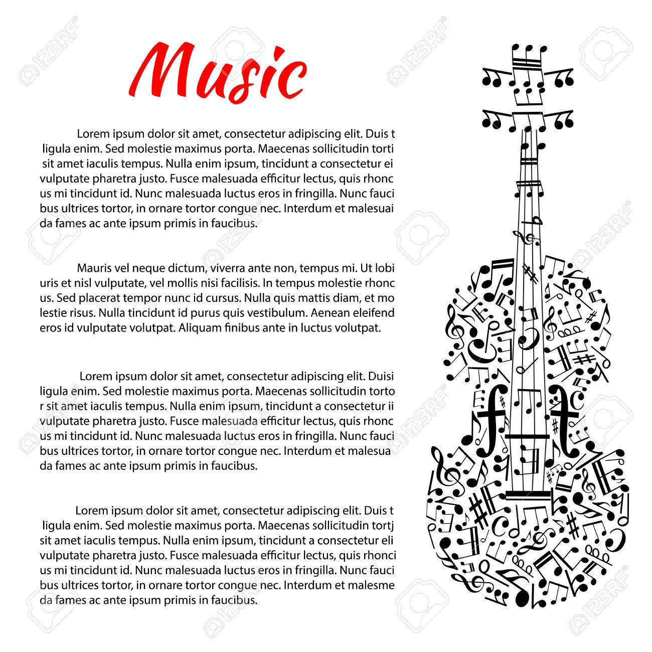 Classic Music Poster With Violin Silhouette Created Of Musical