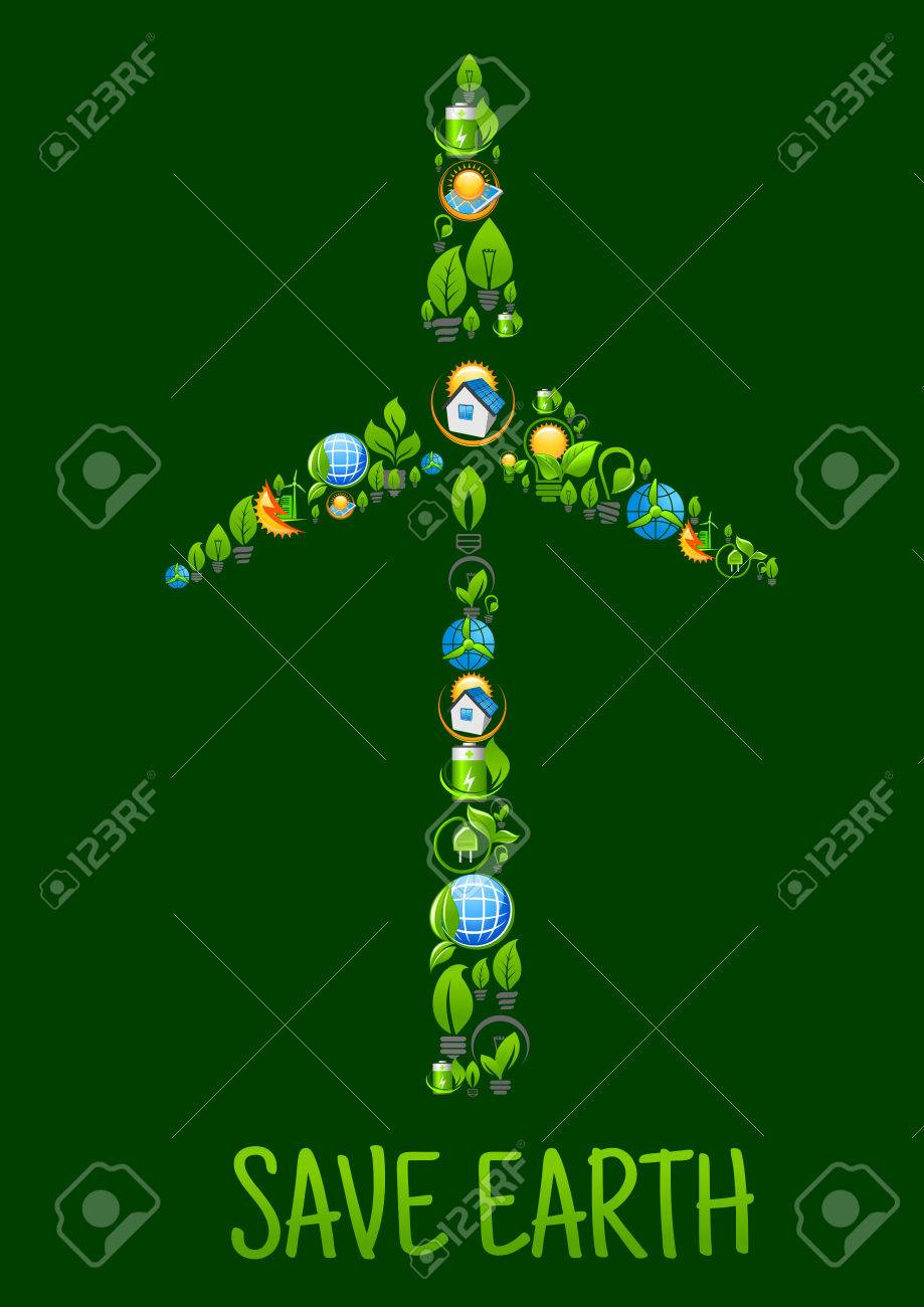Eco Power And Green Energy Icons In A Shape Of Tower And Blades