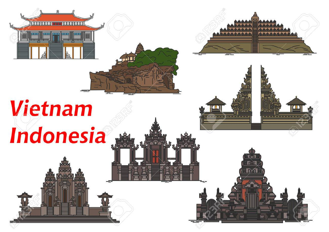 Ancient vietnamese buddhist vinh nghiem pagoda symbol with ancient vietnamese buddhist vinh nghiem pagoda symbol with indonesian buddhist borobudur and pulaki temples complex biocorpaavc Gallery