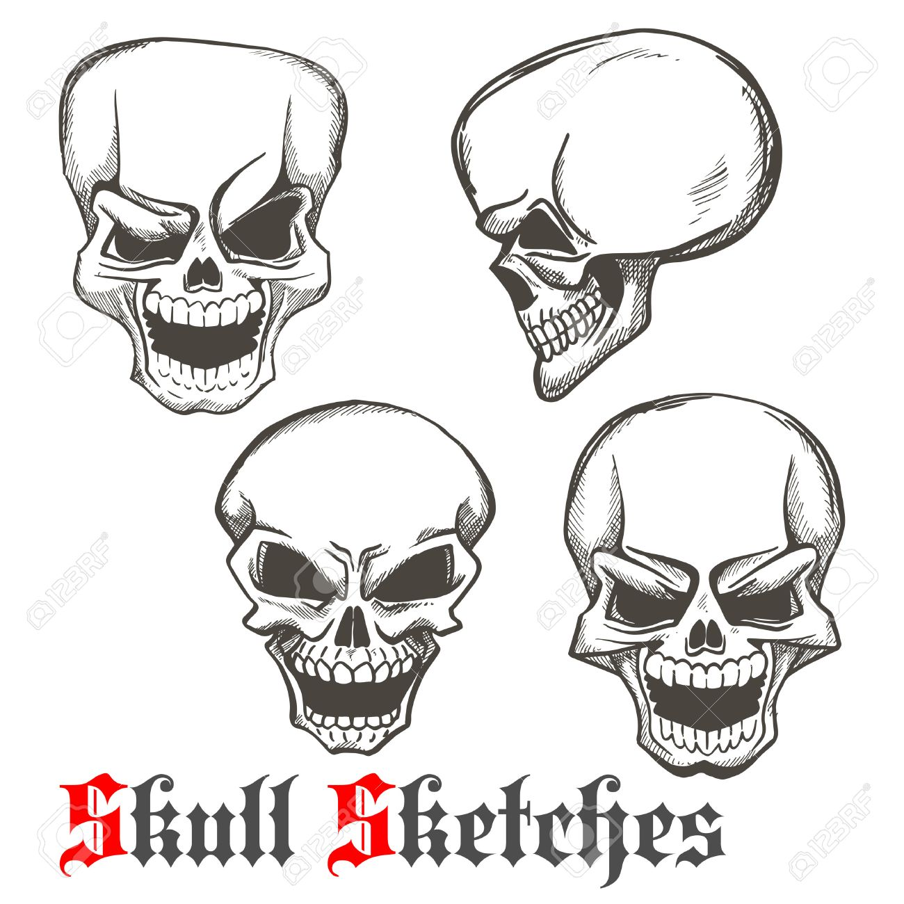 Smiling and winking skulls sketches of human skeleton heads with evil laughing grins. Use as tattoo or Halloween mascot design - 61615192