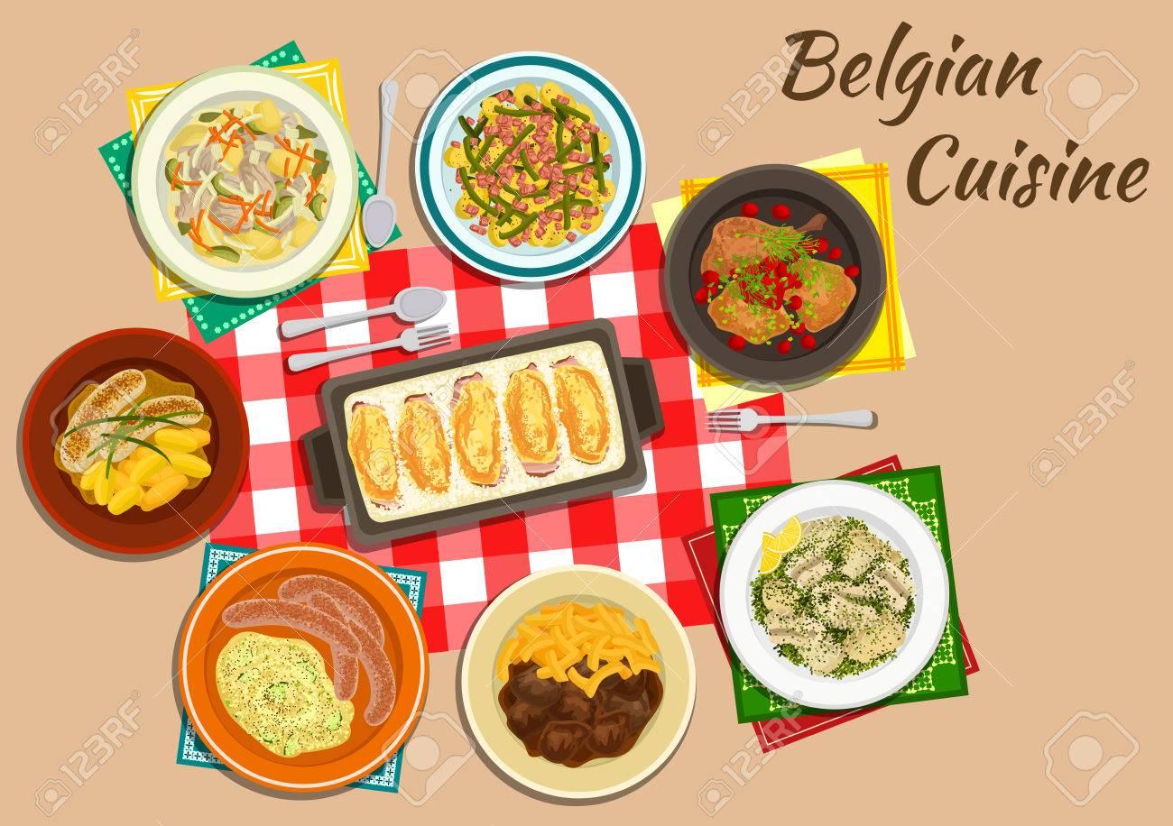 Die Belgische Küche Endivie Rollen Chicorée Mit Schinken Und Käse Flach  Symbol Serviert Mit Milch Würstchen, Pommes Eintopf Mit Rindfleisch, ...