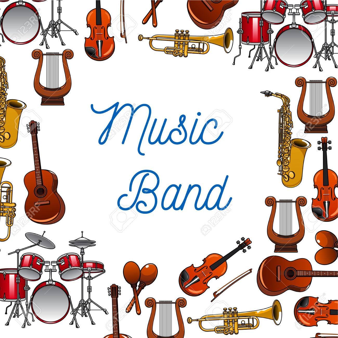 Musical instruments background of guitars, violins, drums, trumpets,