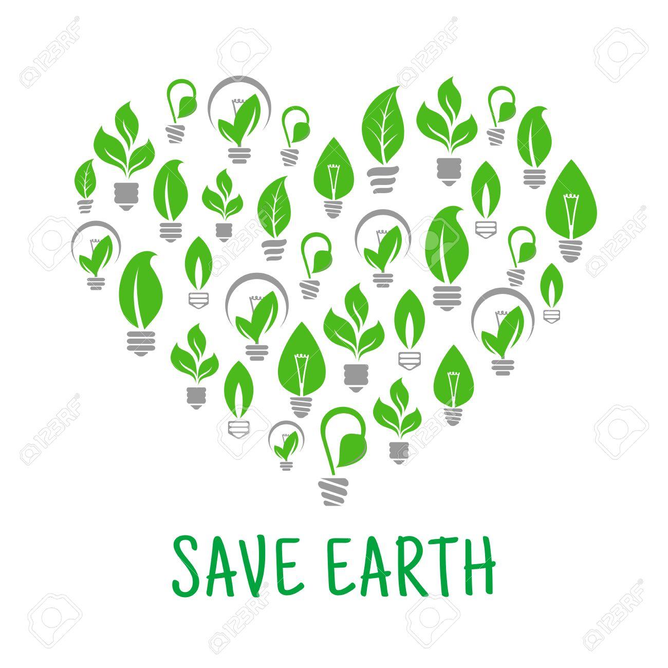 Save Earth Poster. Energy Saving Green Leaf And Lamp Bulb Symbols ...