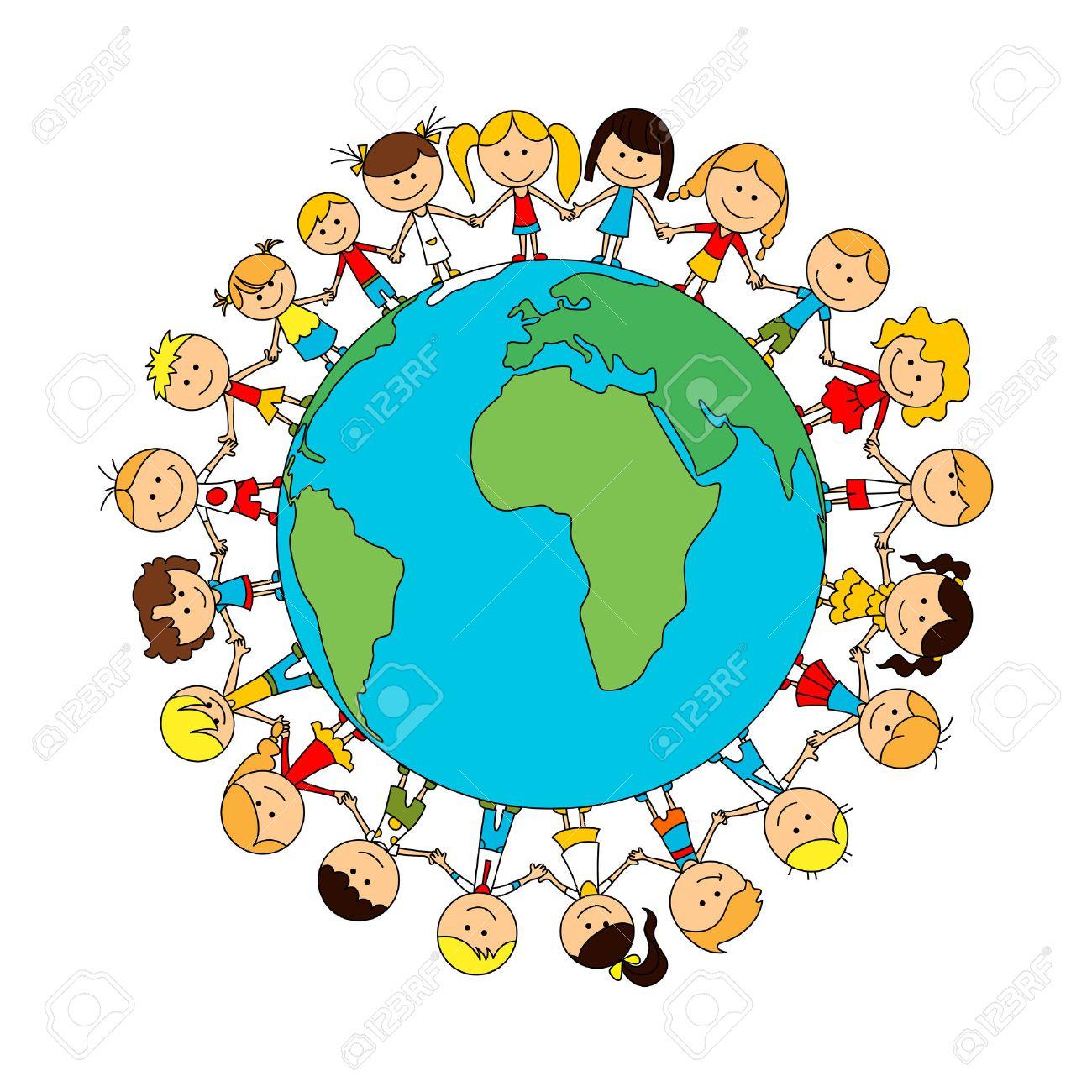 Children world friendship cartoon poster. Happy smiling kids around globe. Child unity and care concept vector symbol. Kindergarten boys and girls - 61616237