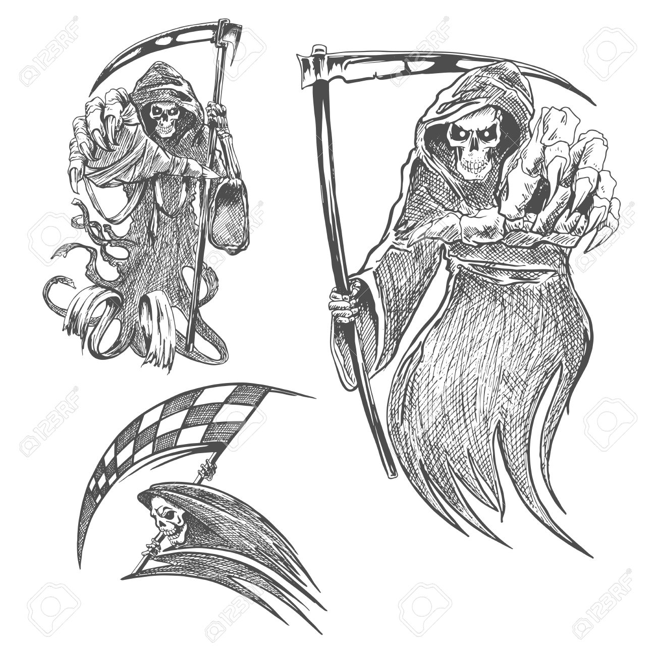 Death with scythe pencil sketch halloween vector icon gothic mortal character sketching for tattoo