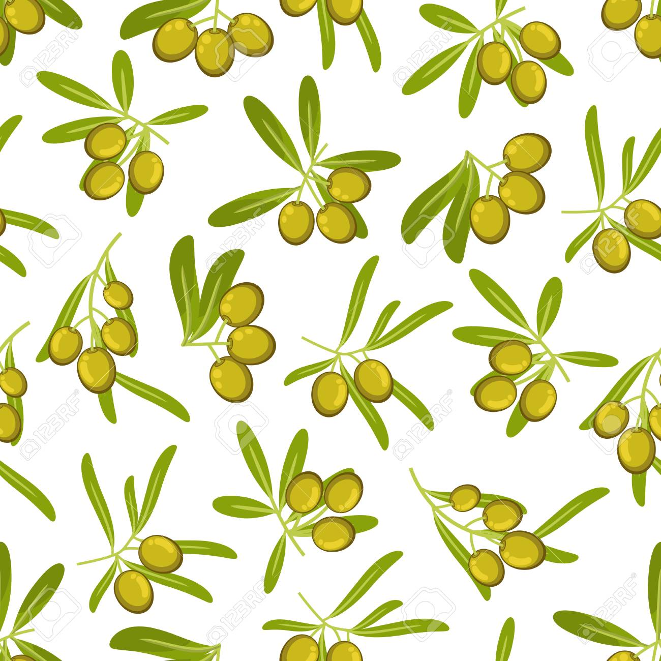 Olives Seamless Pattern Background. Green Olive Branch With Leaves ...