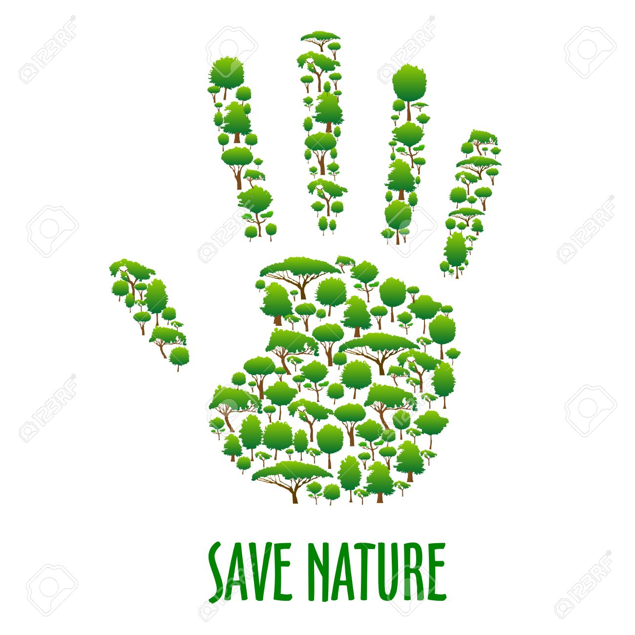 Save Nature Green Environment Protection Poster Green Eco Hand