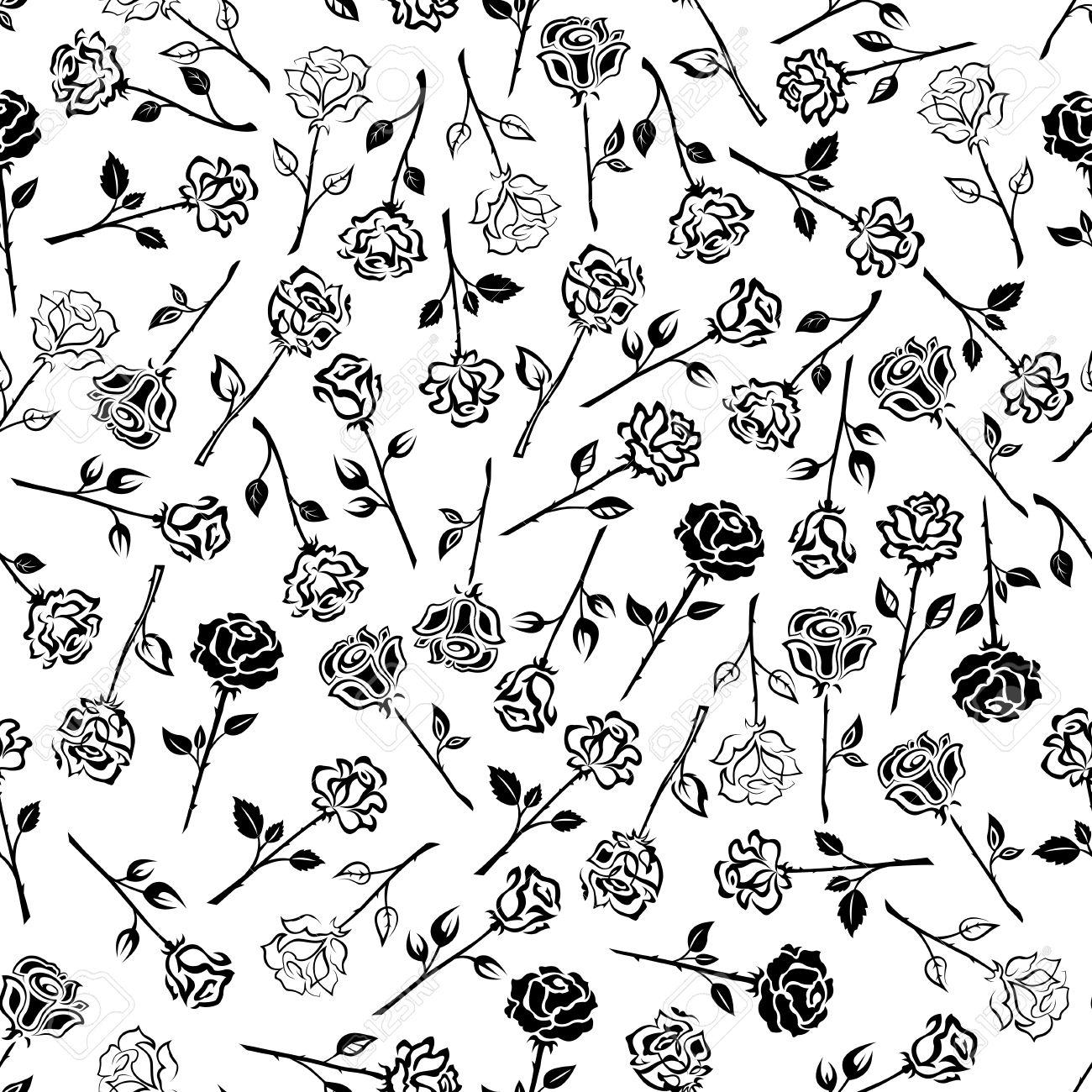 Rosas Floral Sin Fondo Fondo De Pantalla Con El Patron De Iconos De Rosas Blancas Y Negras Capullos De Flores Heraldicas Con Tallos Hojas