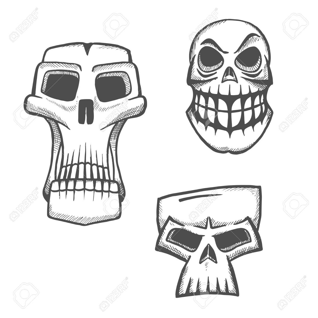 Squelette Dessin Halloween.Crâne Icônes D Esquisse Définies Halloween Effrayant Signe Visage De Squelette Pour Dessin Animé étiquette Tatouage T Shirt Imprimé