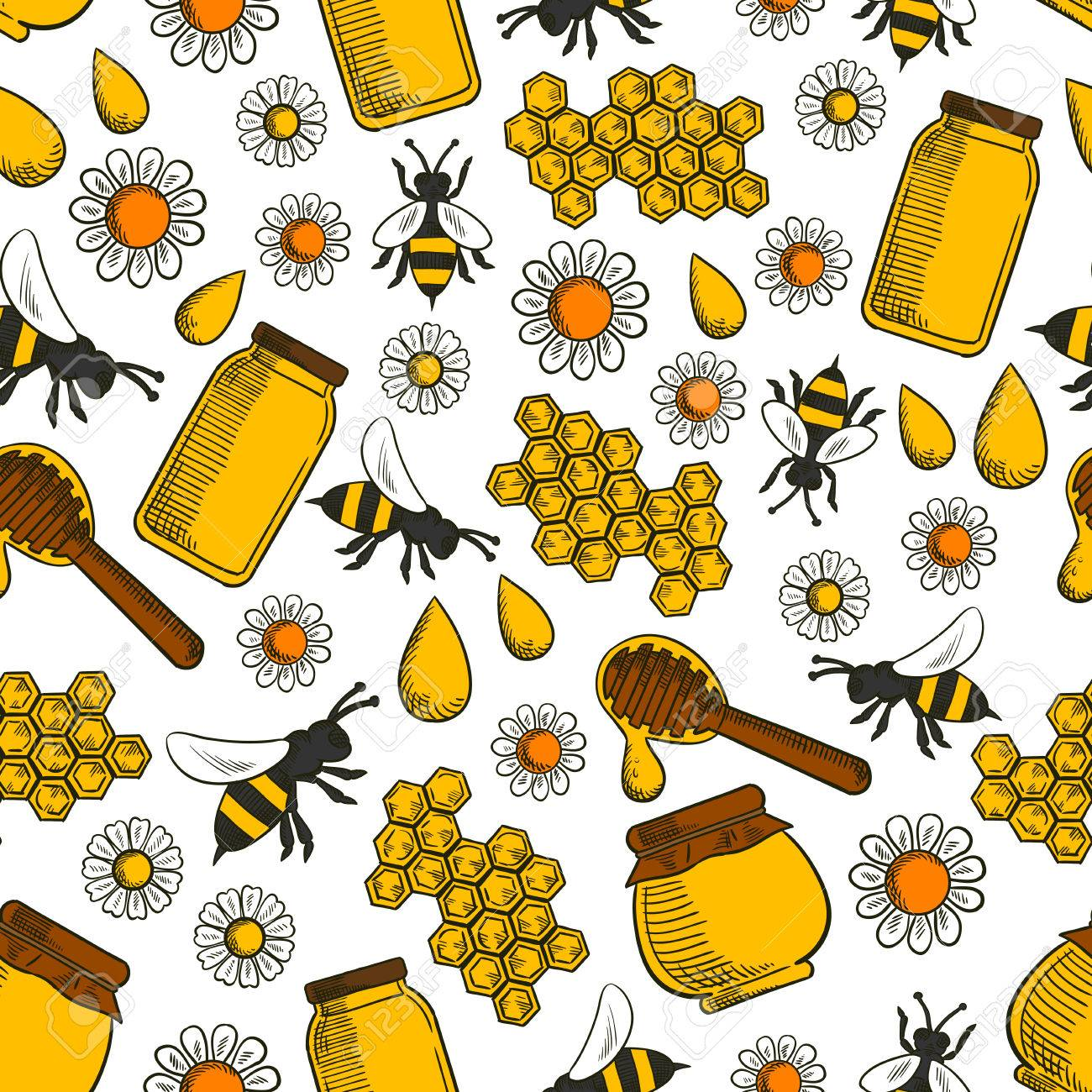 Sweet Honey Products Seamless Background Wallpaper With Vector