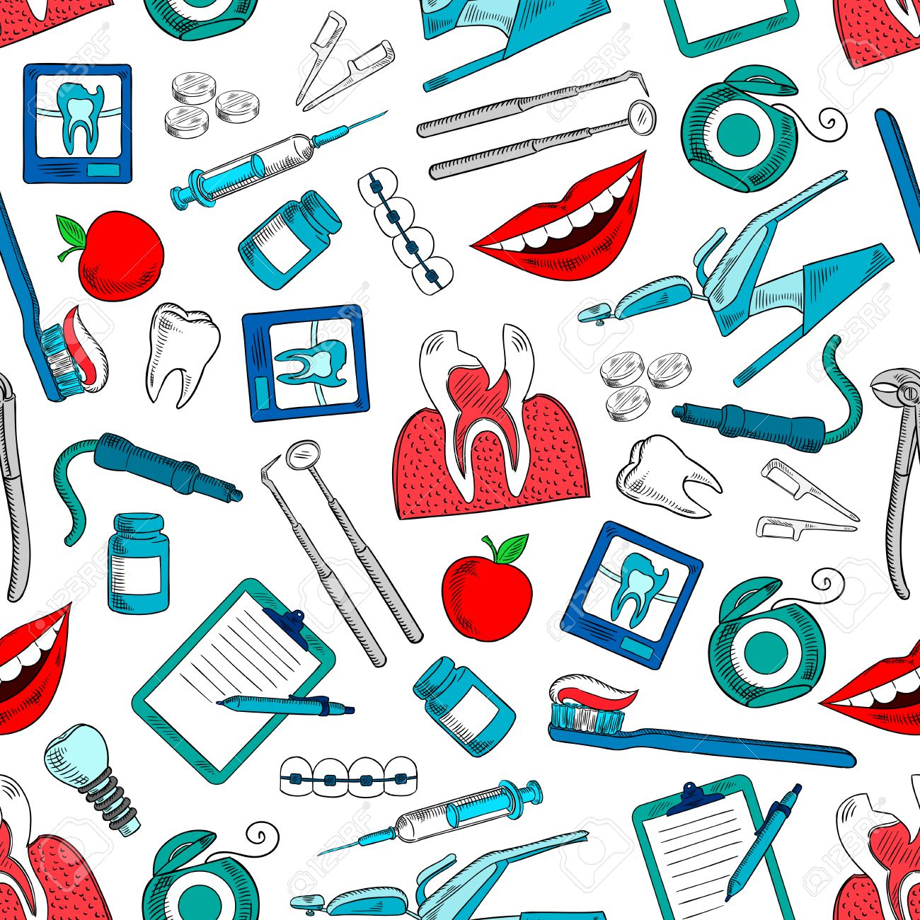 Stomatology And Dentistry Seamless Background Wallpaper With Royalty Free Cliparts Vectors And Stock Illustration Image 61500170