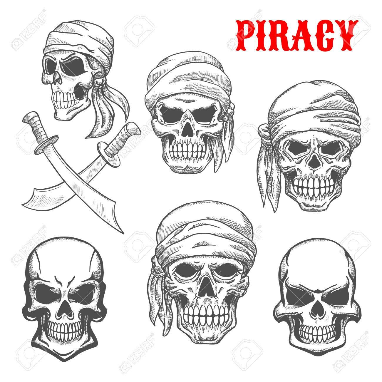 Piraten-Schädel In Kopftücher. Künstlerische Bleistiftskizze Symbole ...