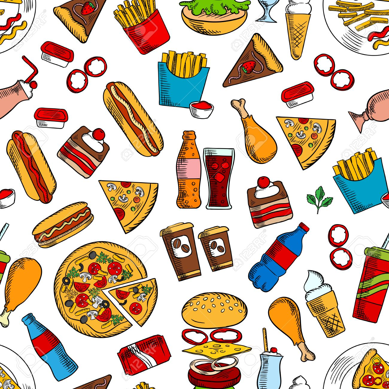 Fast Food Seamless Background Wallpaper With Vector Pattern Of Snacks And Drinks Icons Hamburger