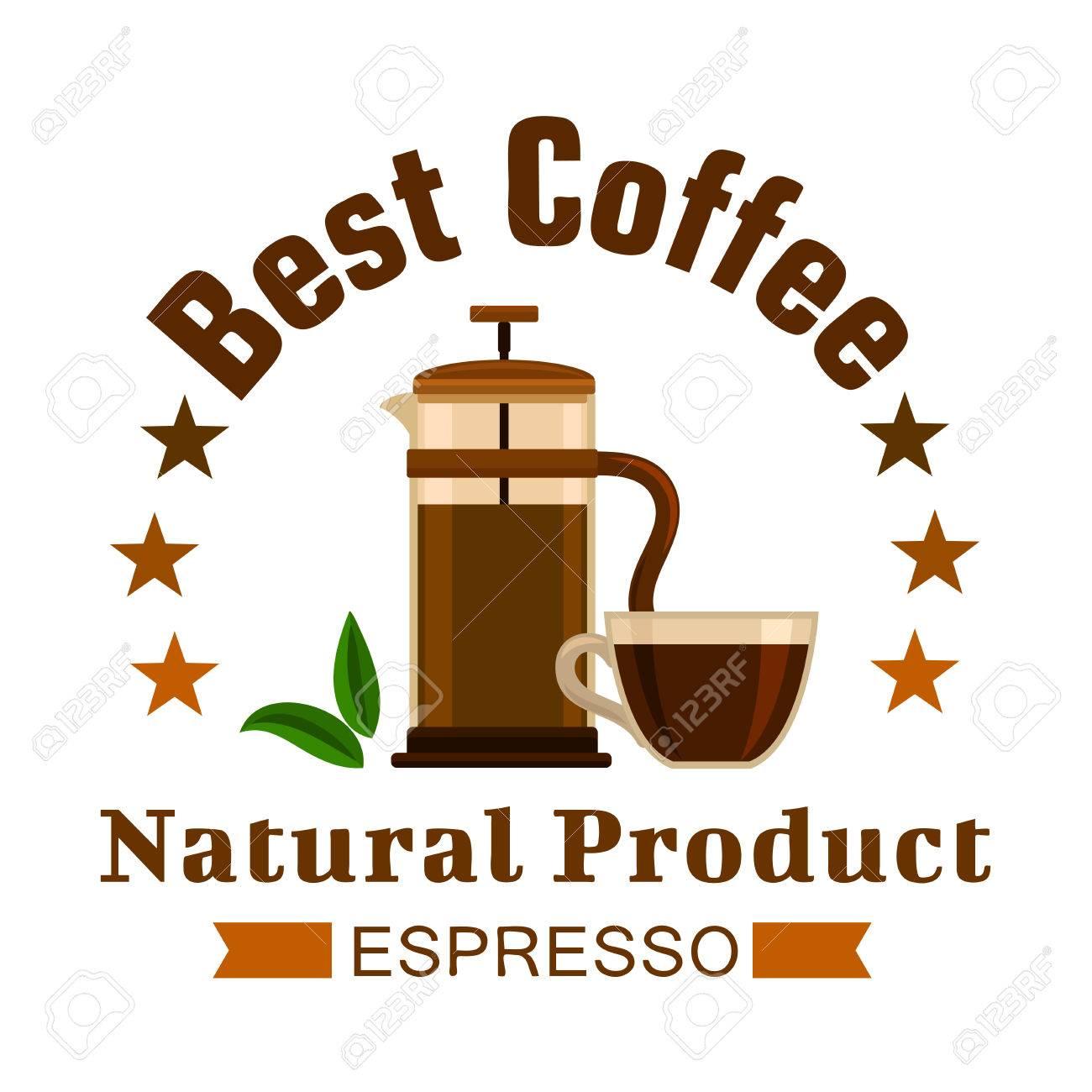 Emblema De Café. Etiqueta De Café Expreso. Cafetera Fritas Elementos ...