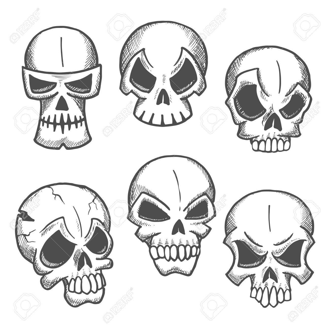 Künstlerische Skelett Schädel Skizzen Symbole. Abstrakte ...