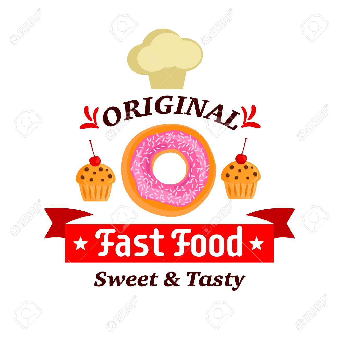 fast food desserts label donut muffin and chef cap vector icons