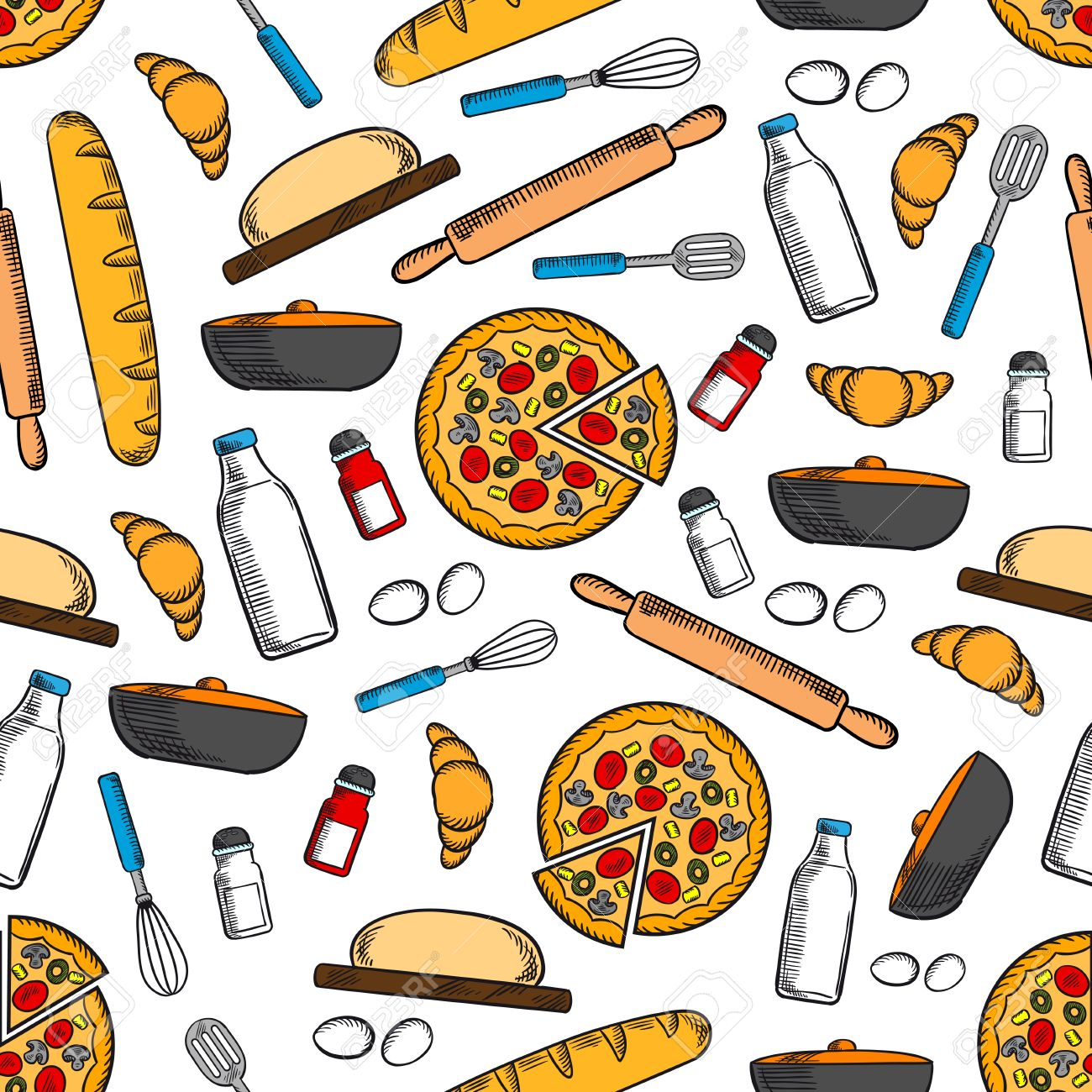 Cooking And Kitchen Utensils Seamless Background Wallpaper With