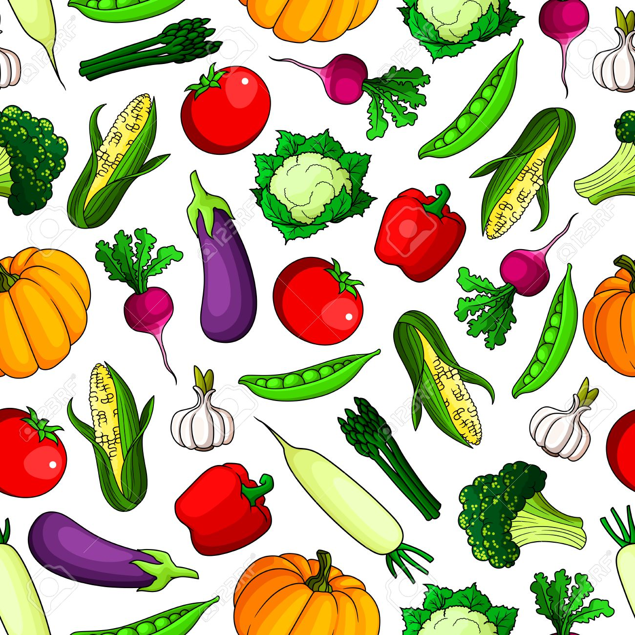 Fresh Farm Vegetables Seamless Background Wallpaper With Icon Royalty Free Cliparts Vectors And Stock Illustration Image 62637932