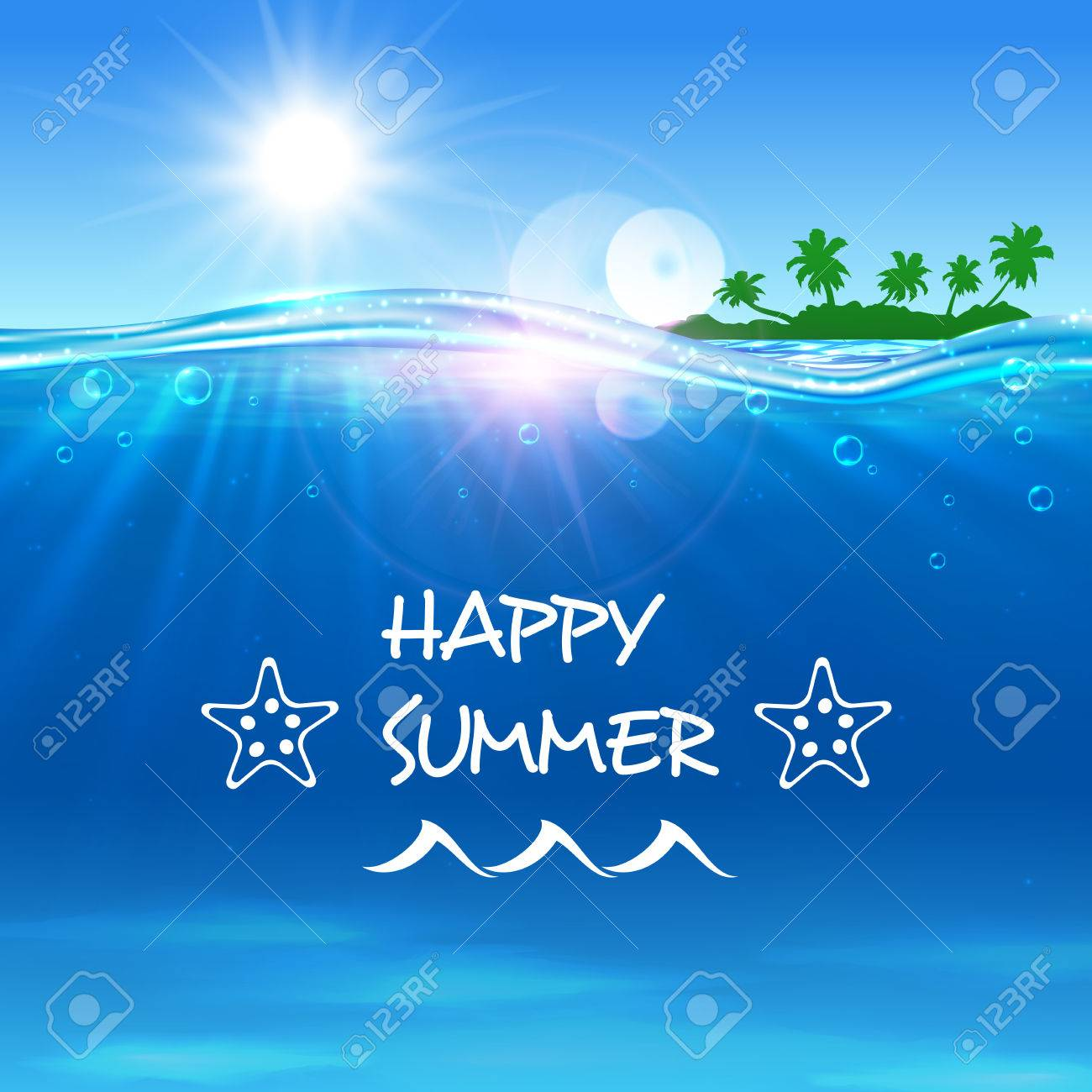 Happy Summer Poster Summer Journey Travel Background With Ocean