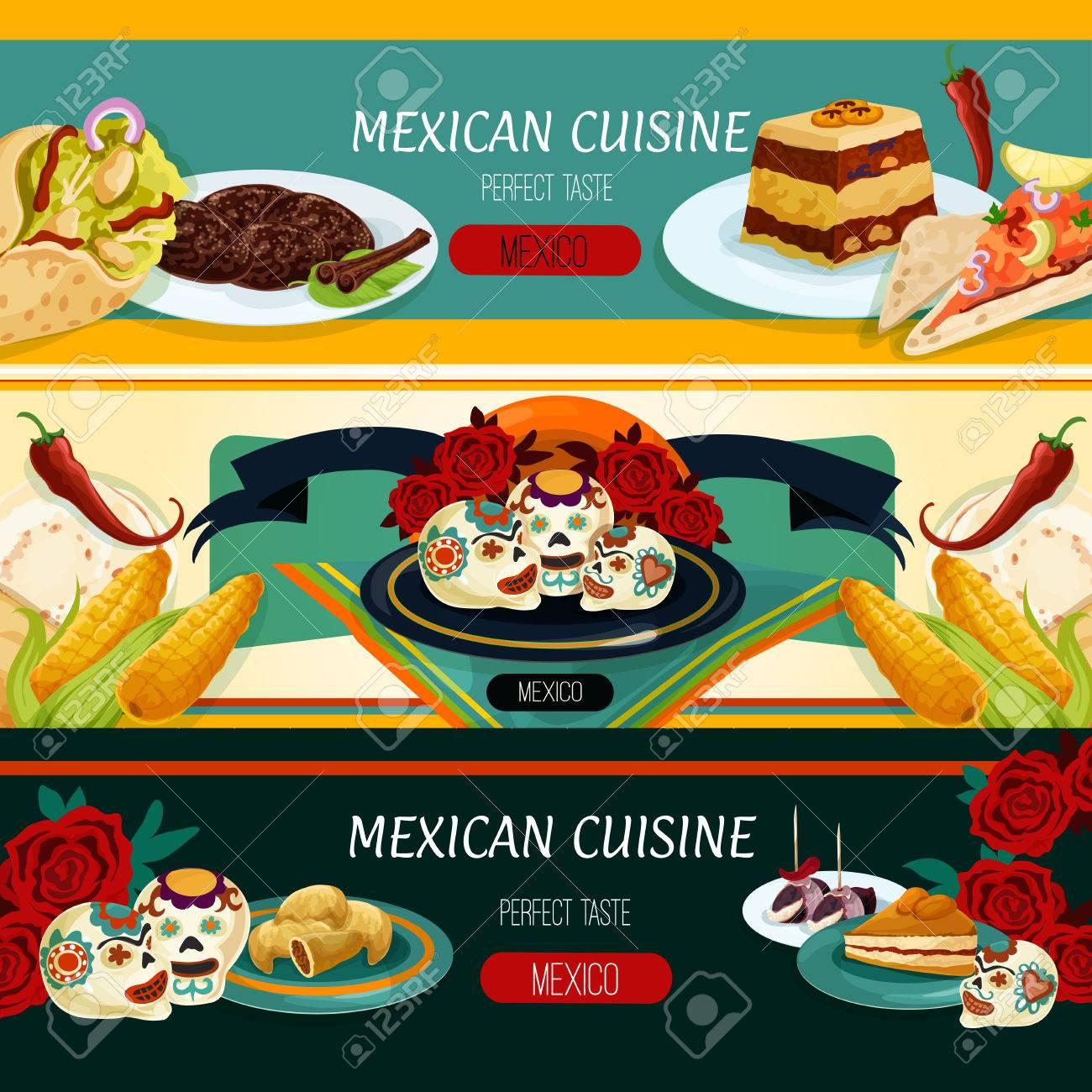 Mexikanische Küche Restaurant Menü-Banner Mit Nachos, Burritos ...