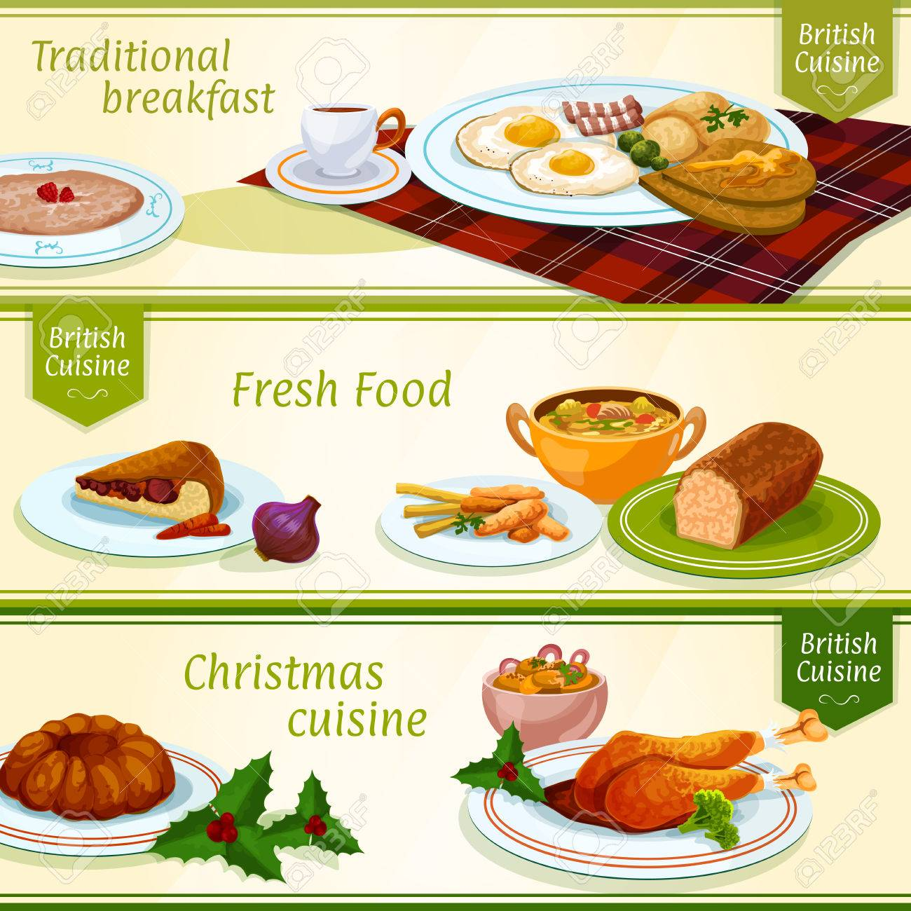 Traditional Christmas Dinner Menu.British Cuisine Breakfast And Christmas Dinner Menu Banners With
