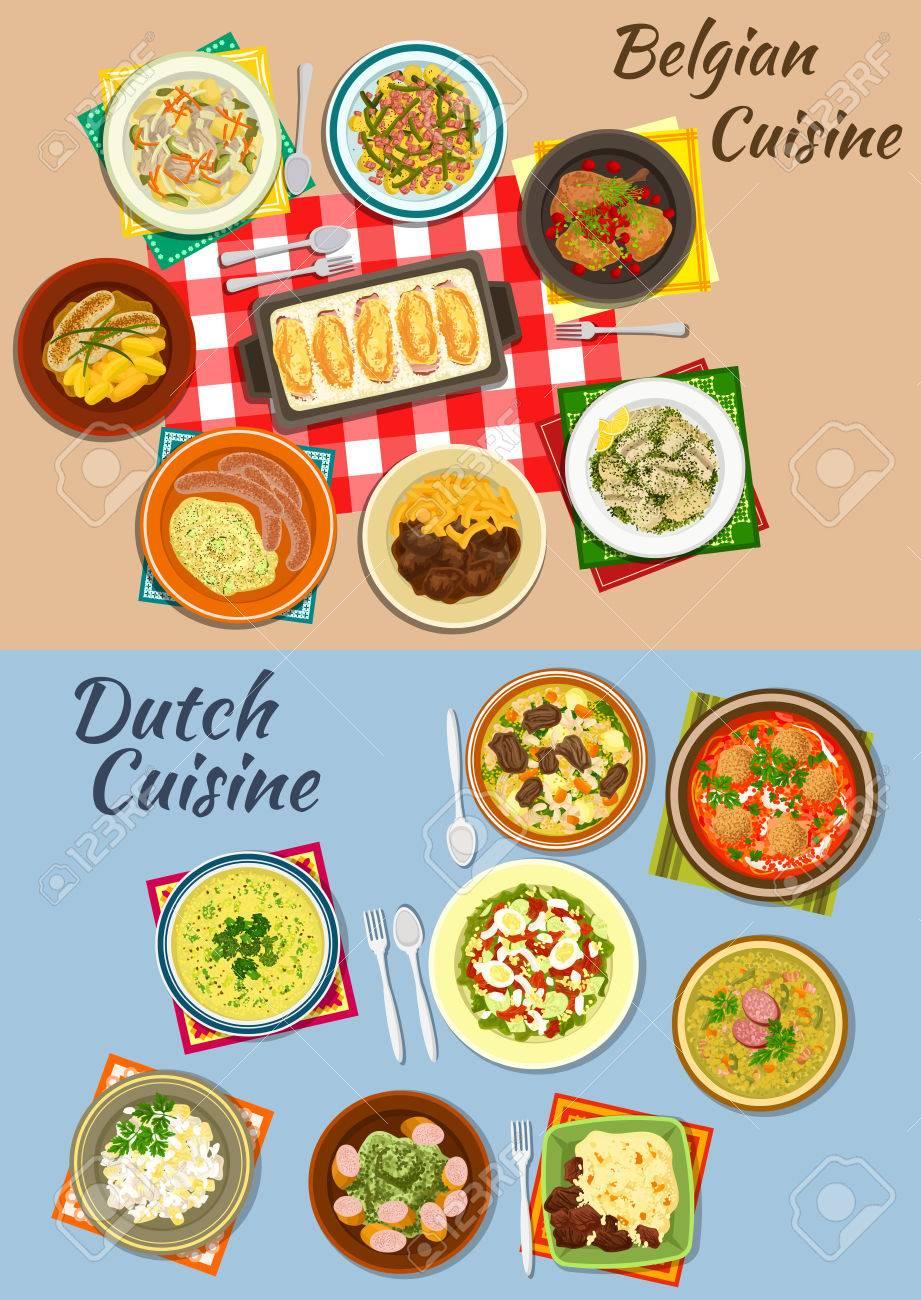 Niederländische Und Belgische Küche Symbol Der Kartoffel Mit Wurst Und  Rindfleisch, Erbsen Und Tomaten
