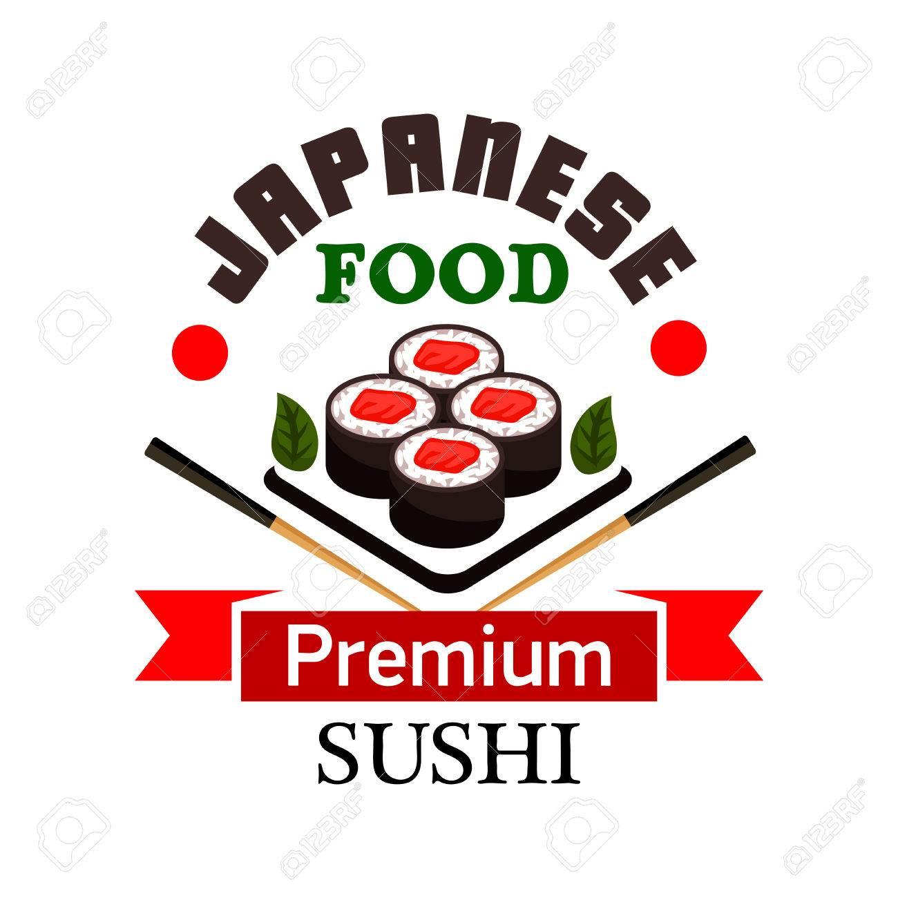 Sushi-Bar Und Japanische Küche Symbol Mit Sushi-Rollen Mit Lachs ...