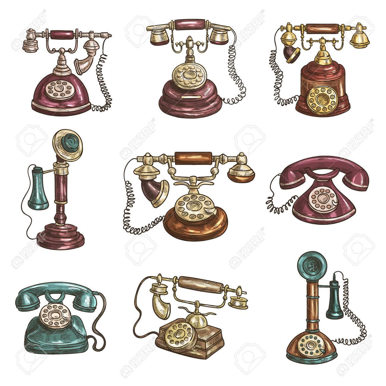 Los Teléfonos Antiguos De época Retro Con Los Receptores Los Diales
