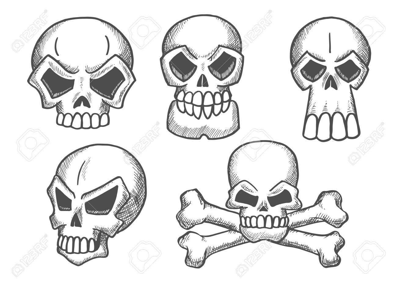 Iconos De Dibujo Cráneos. Esqueleto De Los Cráneos De La Bandera ...