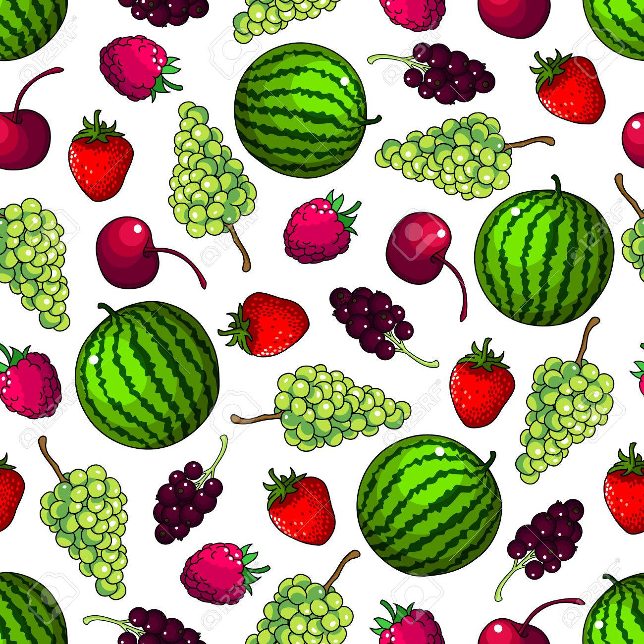 Fruits Seamless Background. Vector Wallpaper With Pattern Of Watermelon,  Grape, Strawberry, Cherry