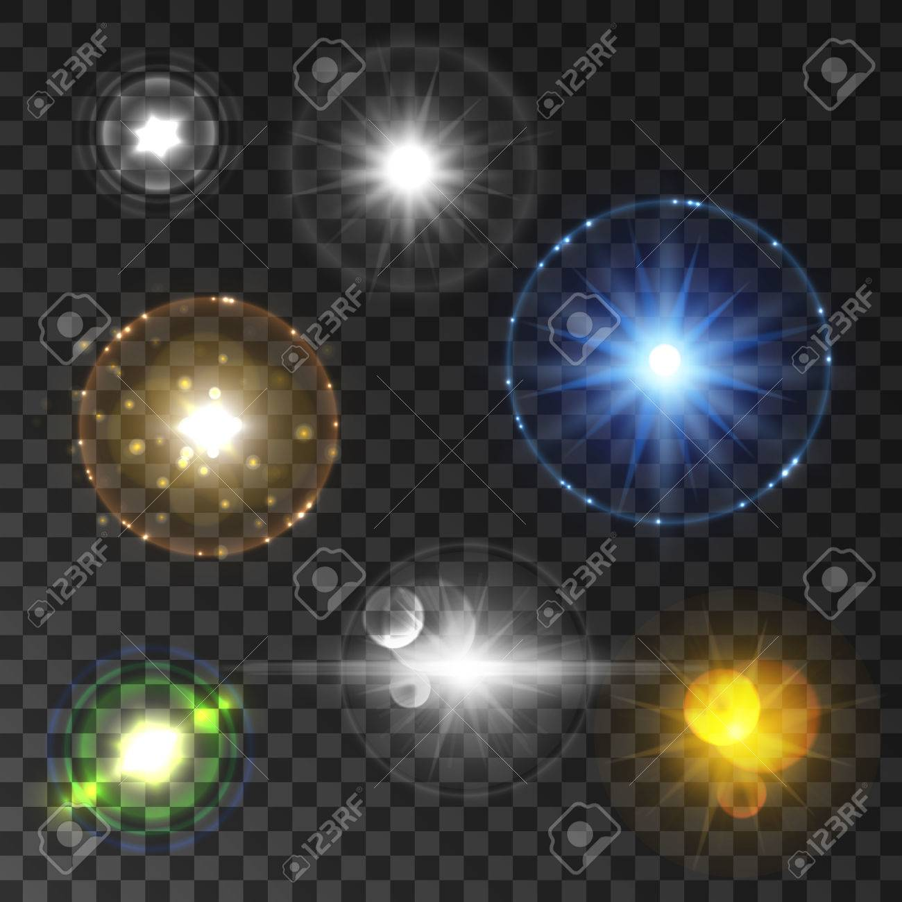 Shining Star And Sun Light Set With Lens Flare Effect. Twinkling ... for Sun Light Effect Background  585hul