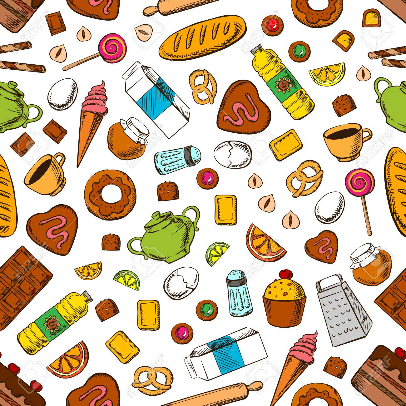 Daily Meal Seamless Background Wallpaper With Pattern Of Breakfast Royalty Free Cliparts Vectors And Stock Illustration Image 62639552