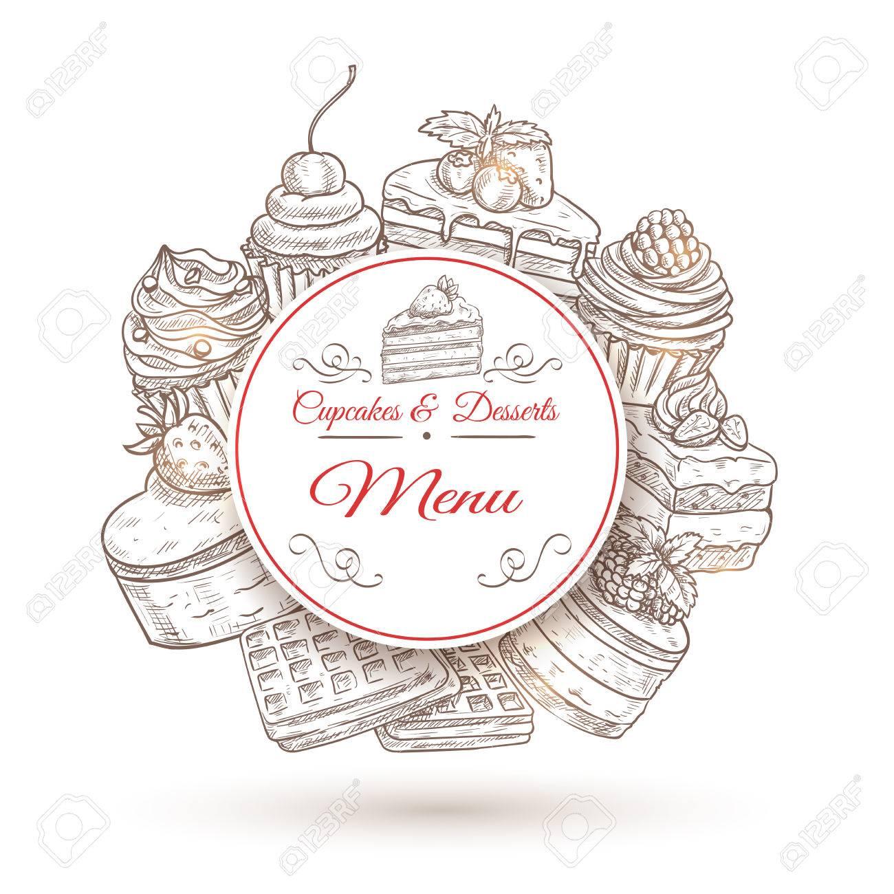 Gebäck Desserts Menü Plakat Mit Kuchen, Kleinen Kuchen, Muffins Und ...